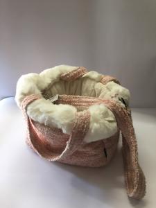 Trilly tutti i Brilli Borsa per chihuahia in lana e peliccia Ecologica Rosa e bianca