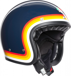 Casco jet AGV Legends X70 MULTI RIVIERA in fibra blu arcobaleno