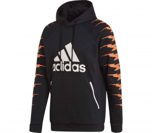 Felpa Adidas Id Fl Grfx Hd Black/white/Orange EB7620