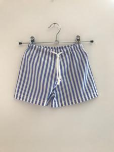 Costume da bagno a righe bianche e blu con laccio