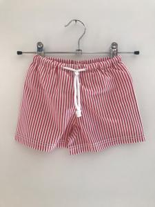 Costume da bagno a righe bianche e rosse con laccio