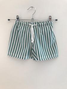 Costume da bagno a righe bianche e verdi con laccio