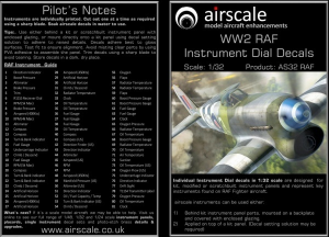 RAF Cockpit Decals WWII