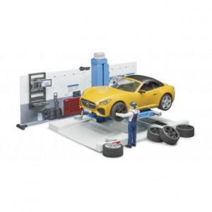 BRUDER OFFICINA AUTOMOBILI CON BRUDER ROADSTER E ACCESSORI 62110