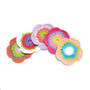 Set 5 FIORI colorati per applicazioni all'uncinetto