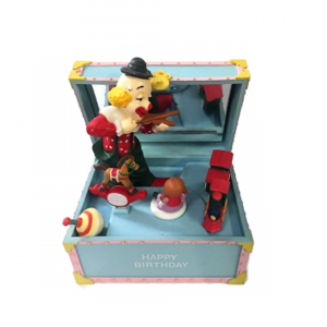 CARILLON bauletto Happy Birthday con clown vintage