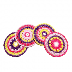 Set 4 SOTTOBICCHIERI colorati all'uncinetto in cotone