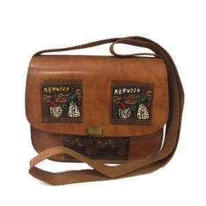 Vintage BORSA con tracollina decorata collezione souvenir Abruzzo