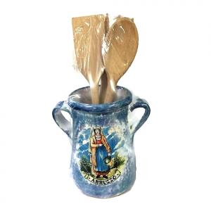 PORTA-MESTOLI in ceramica con mestoli souvenir Abruzzo