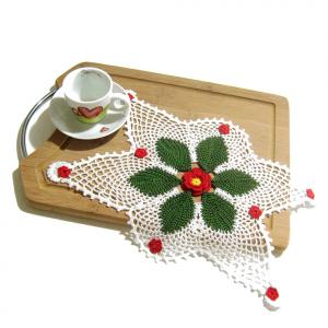 CENTRINO bianco verde e rosso per Natale all'uncinetto
