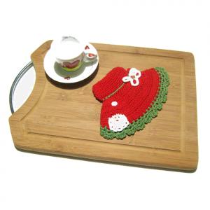 PRESINA cappello rosso con Babbo Natale all'uncinetto