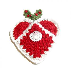 PRESINA cuore rosso con Babbo Natale all'uncinetto