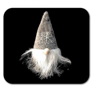 Gnomo in stoffa con cappello grigio e barba bianca
