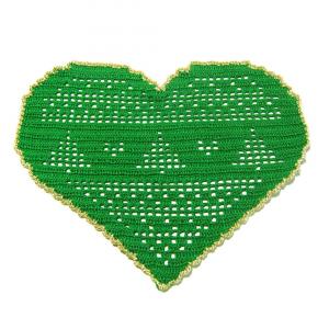 CENTRINO a forma di cuore verde e oro per Natale all'uncinetto
