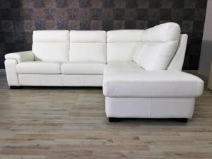 Divano angolare destro in pelle bianca a 5 posti maggiorati con schienale alto e angolo terminale – Design contemporaneo - pronta consegna