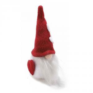 Gnomo in panno con cappello rosso e cuori