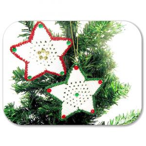 Set 2 STELLE da appendere per l'albero di Natale all'uncinetto