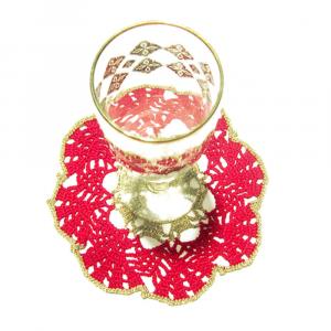 Set SOTTOBICCHIERI rosso e oro per Natale all'uncinetto