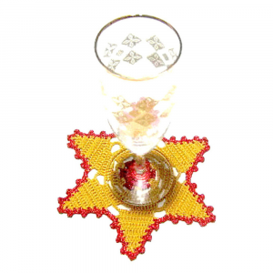 Set SOTTOBICCHIERI giallo oro e rosso per Natale all'uncinetto