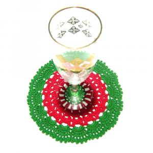 Set SOTTOBICCHIERI rotondi rosso e verde per Natale all'uncinetto