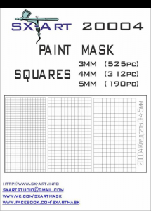 Mask Squares 3mm (525x), 4mm (312x), 5mm (190x)