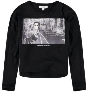 T-Shirt Nera Con Stampa Ragazza