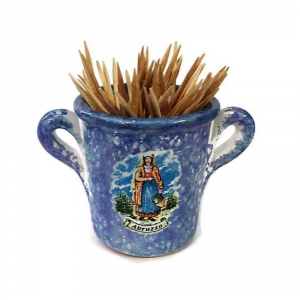 Porta stuzzicadenti in ceramica con donna abruzzese