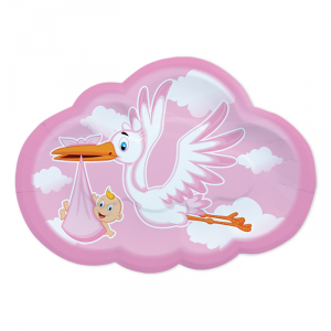 Piatti Sagomati Cicogna Nuvola Rosa