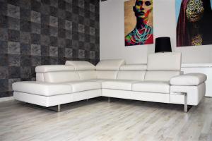 FIDO - Divano angolare destro in pelle tortora a 5 posti maggiorati con poggiatesta recliner manuali piedini cromati lucidi- angolo terminale – Design moderno