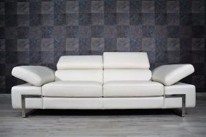 MARLY - Divano in pelle color crema a 3 posti maggiorati con poggiatesta e braccioli recliner manuale piedini cromati lucidi – Design moderno
