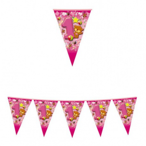 Festone a Bandierine Primo Compleanno Rosa