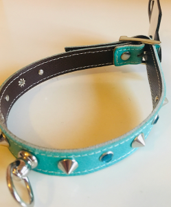Pet Follie collare in pelle con borchie e strass.