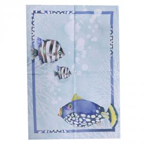 Set 2 strofinacci canovacci 50x75 cm cotone GABEL ATLANTIS mare-pesci