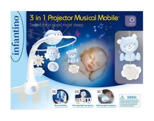 INFANTINO - 3  in 1 Proiettore Musicale AZZURRO