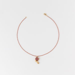 Collana girocollo in ottone galvanizzato motivo floreale