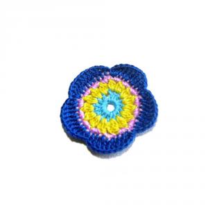 Set 5 fiori turchese, giallo e blu elettrico all'uncinetto