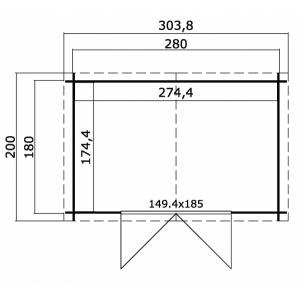 CASETTA LEGNO CM  300 X 200 SPESSORE MM 28