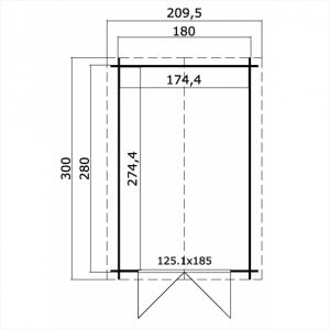CASETTA LEGNO CM  200 X 300 SPESSORE MM 28