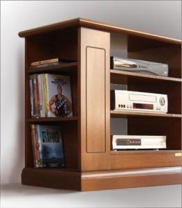 Porta tv in legno con antina a vetrinetta e ripiani