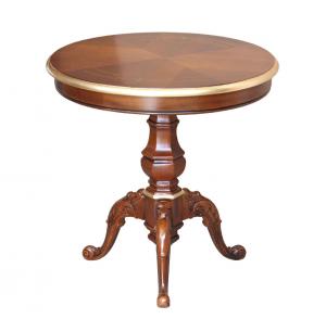 Tavolino rotondo con dettagli oro diametro 60
