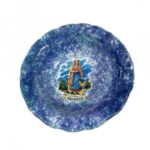 Ciotola con donna abruzzese souvenir in ceramica