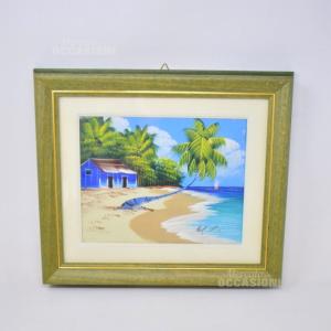 Dipinto Paesaggio Palme 33*37cm Cornice Verde