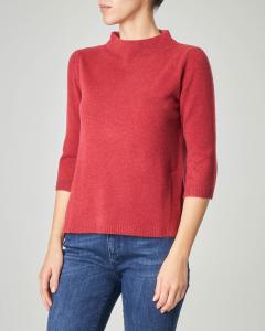 Maglia bordeaux in lana misto cashmere con collo alto e maniche tre quarti