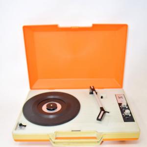 Giradischi Vintage Valigetta Arancione Funzionante (a Corrente O Batterie)
