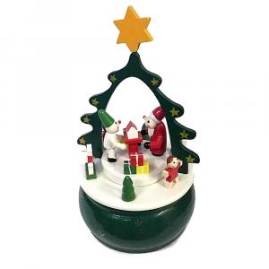 Carillon paesaggio natalizio in legno VINTAGE