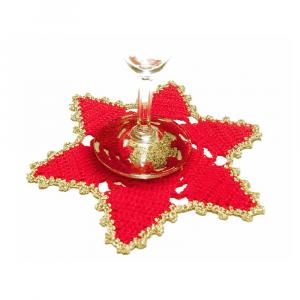 Set SOTTOBICCHIERI stella rosso e oro per Natale all'uncinetto