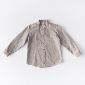 Korean collar organic denim shirt