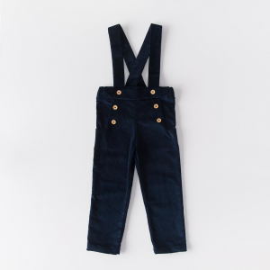 Midnight blue velvet corduroy organic cotton trousers