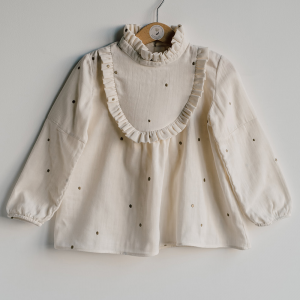 Blouse in cotton muslin with polka dots embroidered in cream-colored golden thread