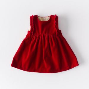 Vestitino in velluto di cotone color rosso